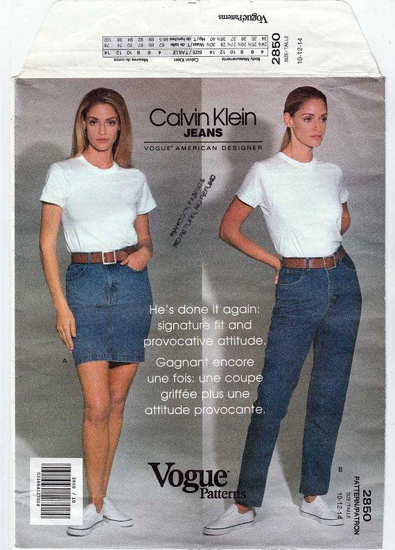 661bf9cb4ea Calvin Klein Jeans and Denim Skirt Sewing Pattern Misses Size 10-12-14  UNCUT Vintage 1990 s Vogue American Designer 2850