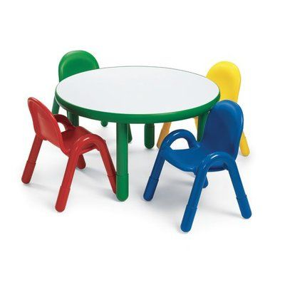 c55926a38867 Angeles Round Baseline Preschool Table and Chair Set in Shamrock Green