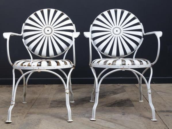 French Sprung Steel Armchairs Antique Garden Furniture