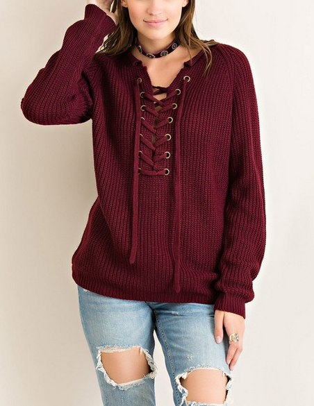 all tied up lace-up front sweater - burgundy - shophearts - 5 3744cc4b0