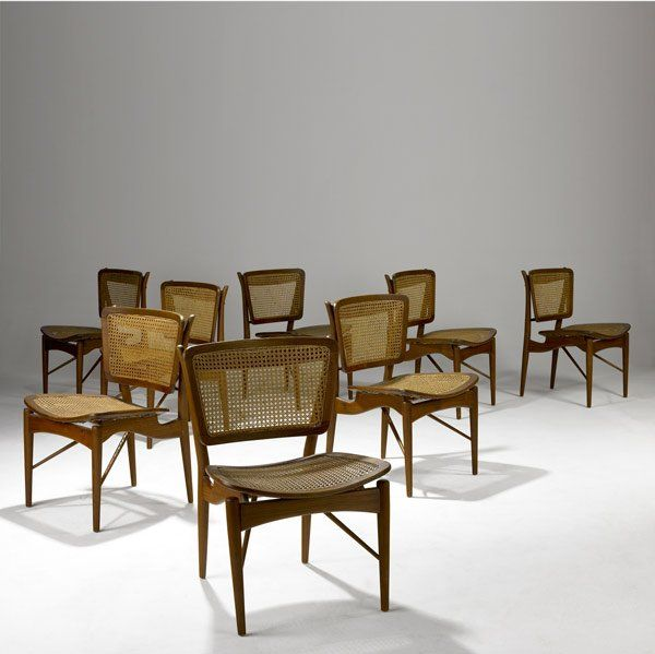 Finn Juhl Teak And Cane Dining Chairs For Baker 1950S Chaired Captivating Cane Dining Room Chairs Inspiration Design