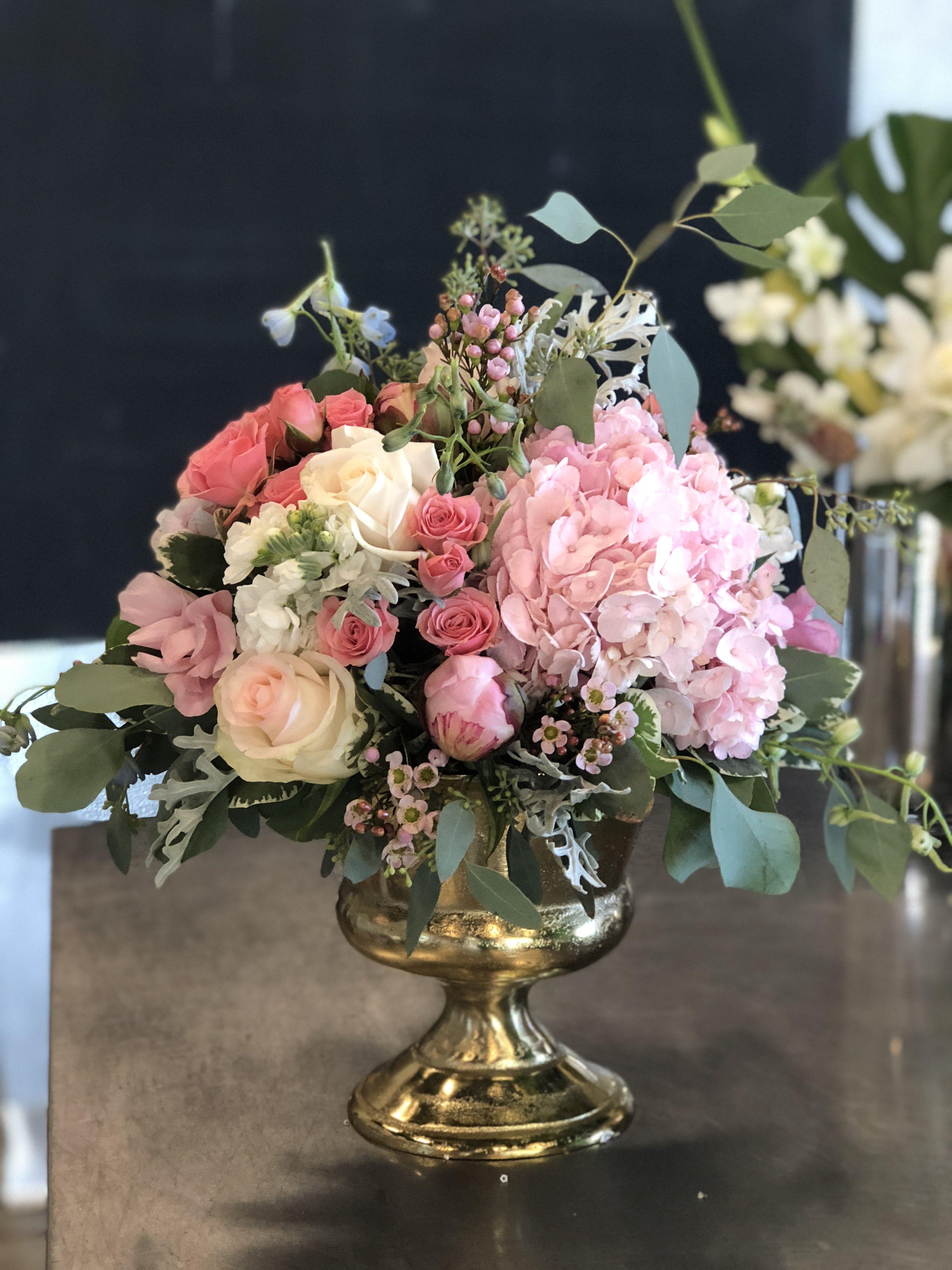 Hydrangea, gold vase, eucalyptus, peonies, roses Flower