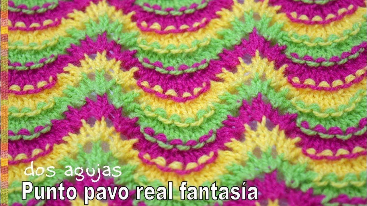 Punto pavo real fantasía de colores tejido a dos agujas - Tejiendo ...