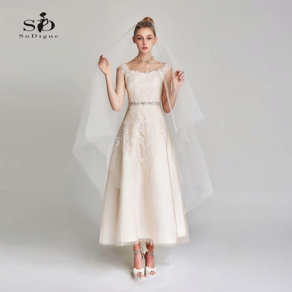 Short Wedding Dress Bridal Gowns Lace Appliques Simple Short Wedding Dress For Party Ankle Ankle Length Wedding Dress Tea Length Wedding Dress Wedding Dresses [ 1000 x 1000 Pixel ]