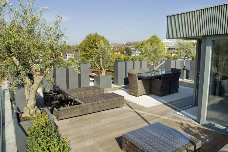 hochk bel mit pflanzen dienen als sichtschutz f r die dachterrasse ls rooftop garden and. Black Bedroom Furniture Sets. Home Design Ideas