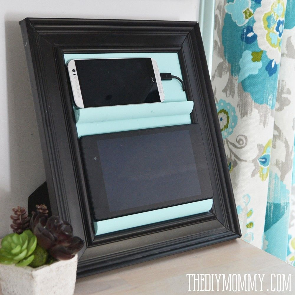 13 Ways To Use A Picture Frame: Countertop Tablet And Phone Charging Station