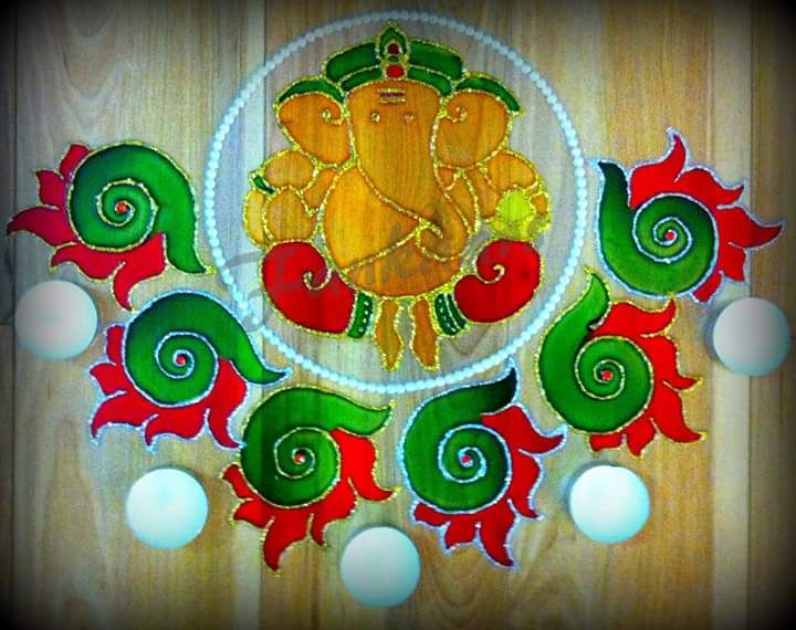 Rangoli Done On Ohp Sheet Using Glass Colours And Decorated With