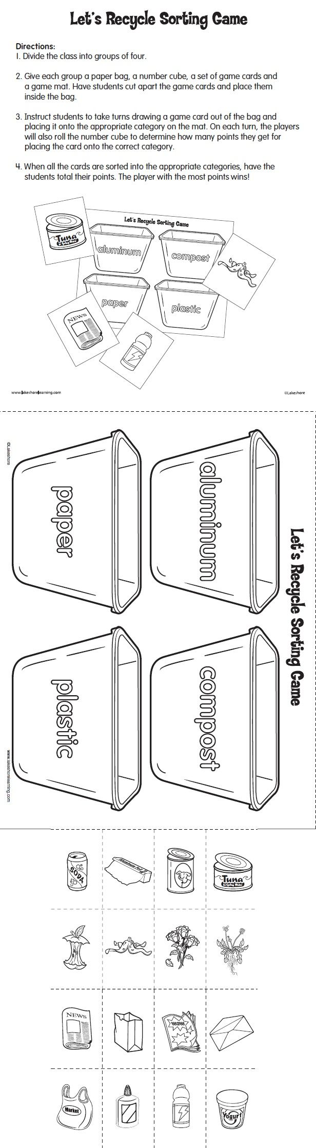 let u0027s recycle sorting game printable from lakeshore learning