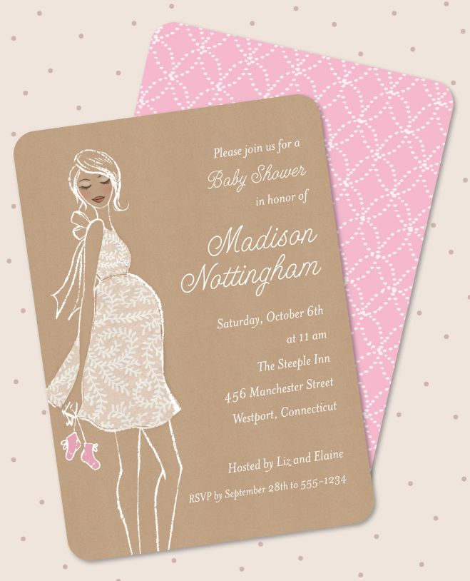 inspirational baby shower invitation wording%0A Kraft Baby Pink Shower Invitation by Bonnie Marcus