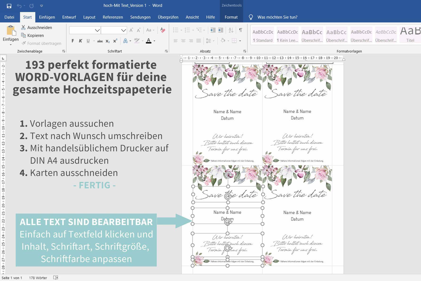 Rose 193 Word Vorlagen Zum Ausdrucken Einladungskarten Hochzeit Selbst Gestalten Tischdeko Hochzeit Selber Machen Diy Hochzeit Planen