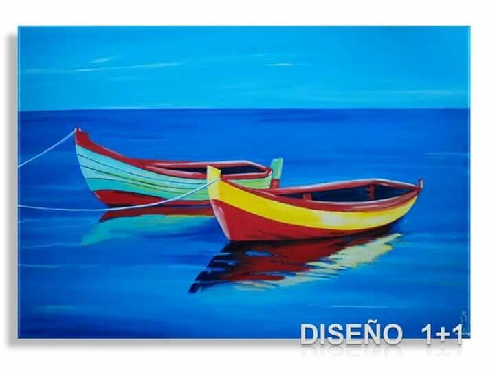 Cuadro marina pintado a mano con acrilico sobre lienzo - Acrilico sobre lienzo ...