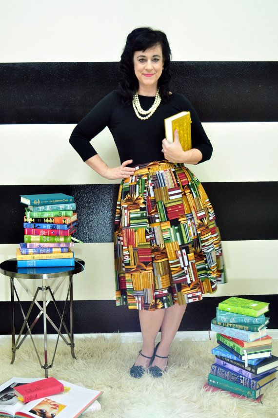 Book Print Hartley Skirt  full and pleated skirt by SandeeRoyalty