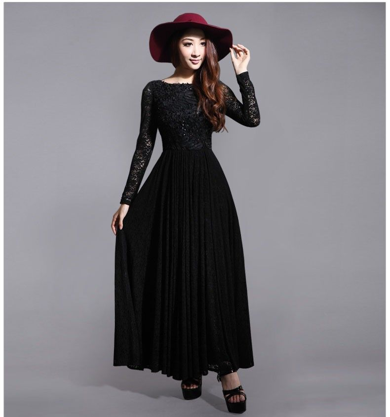 2014 new fashion vintage long sleeve maxi long lace dress with ...