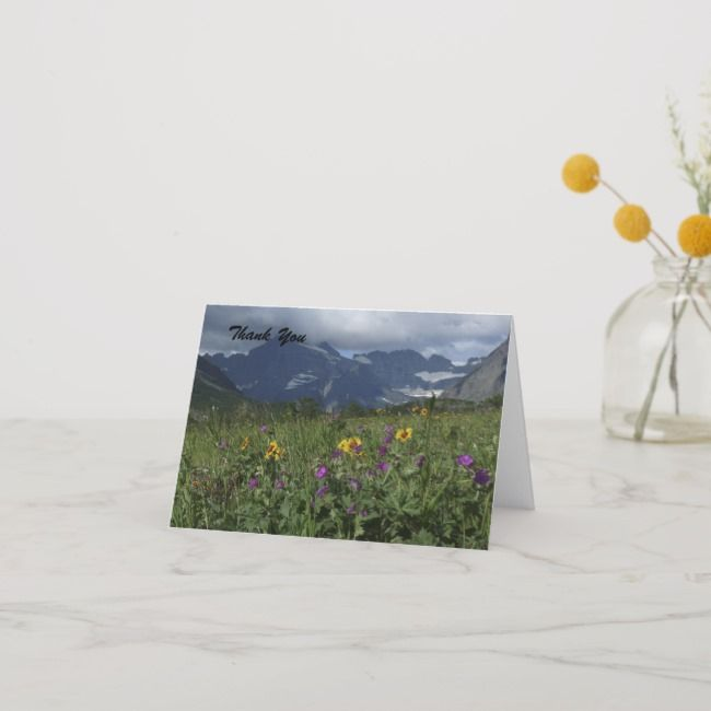 Thank You Blank Inside Mountain Wildflowers Thank You Card