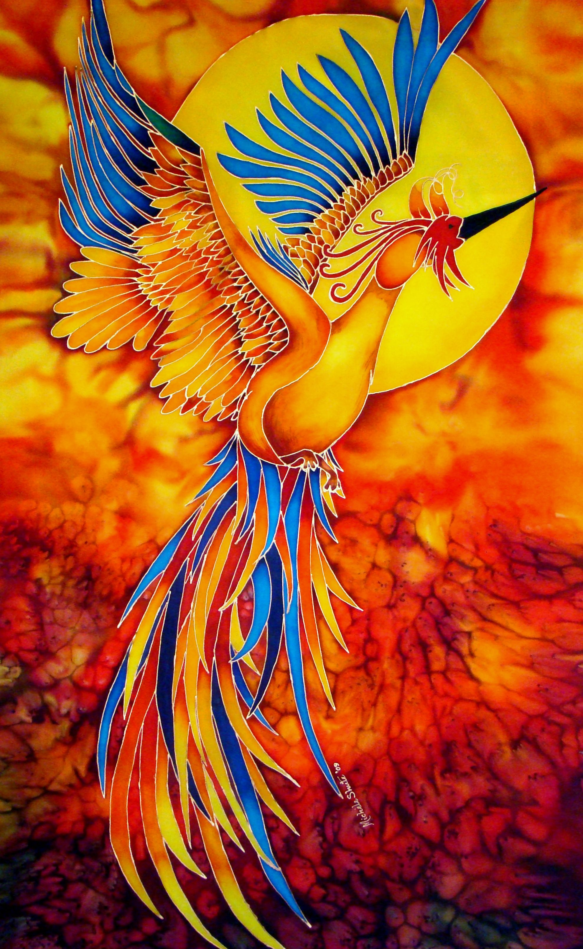 My interpretation of a  Phoenix  on silk. St  Lucia s Bird of Paradise   Silk Painting by Daniel Jean