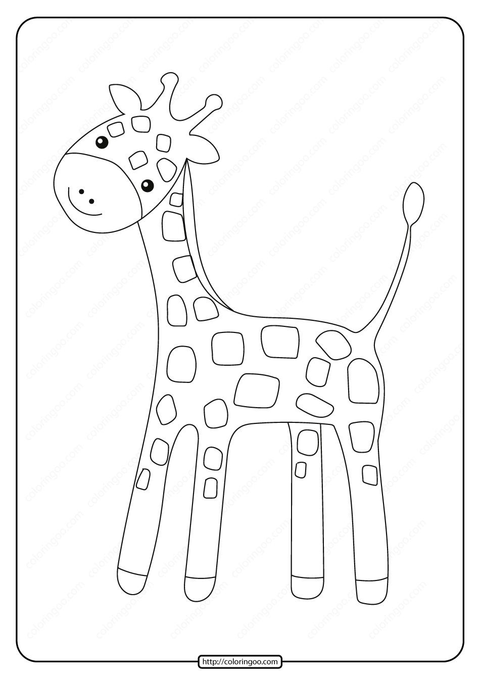 Free Printable Baby Giraffe Pdf Coloring Page In 2020 Giraffe Coloring Pages Giraffe Drawing Baby Giraffe