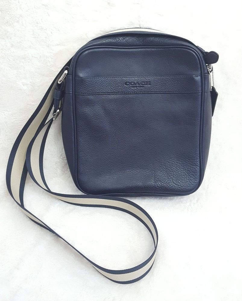 f14a4ca5f86e ... shop coach mens flight bag smith leather crossbody shoulder bag blue  f54782 coach mensfashion e0653 de944