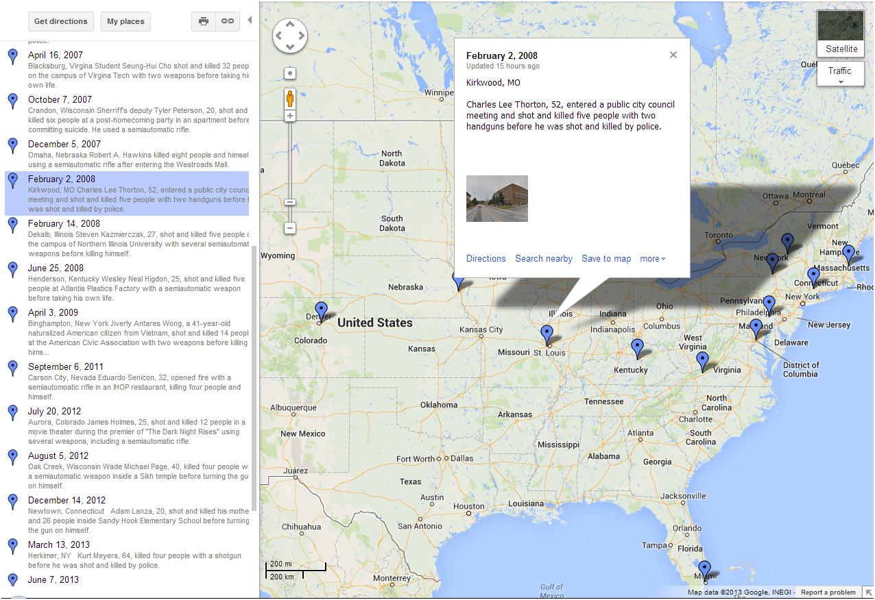 Interactive Google Maps: Mass Shootings in U.S. since 2000 | Custom ...
