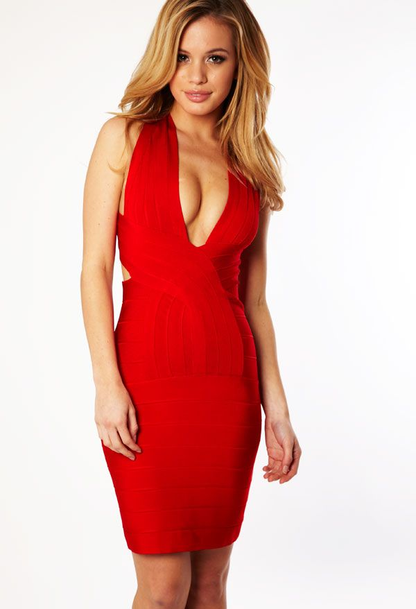 Clothing : Bandage Dresses : 'Vanessa' Red Deep V Backless Bandage ...