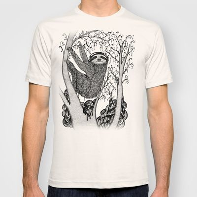 PEACE-TOED SLOTH T-shirt by Nichole Lillian Ryan  - $18.00