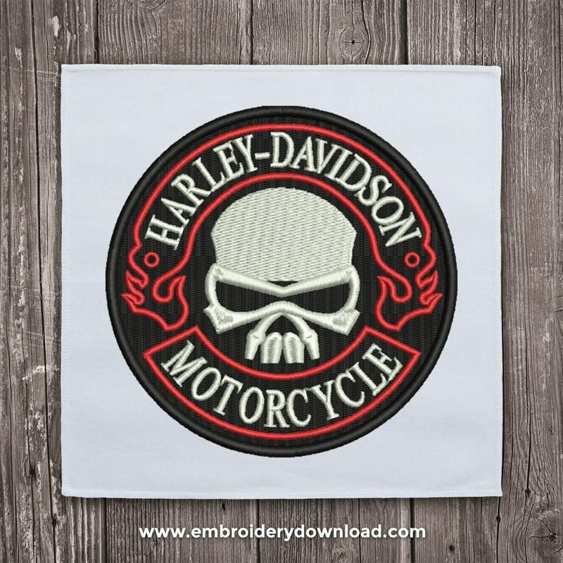 Harley Davidson Skull Tribal Embroidery Design Embroidery