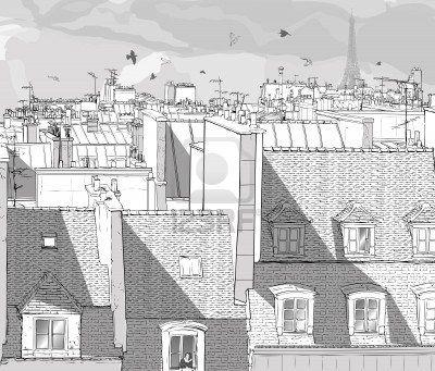 Vector Illustration D Un Point De Vue Sur Les Toits De Paris Avec La Tour Eiffel Paris Rooftops Paris Paris France