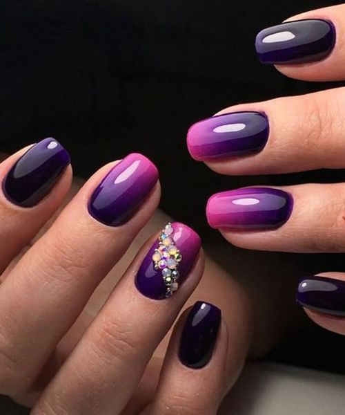 Stunning Purple Blue To Pink Nail Art Designs For Prom In 2018