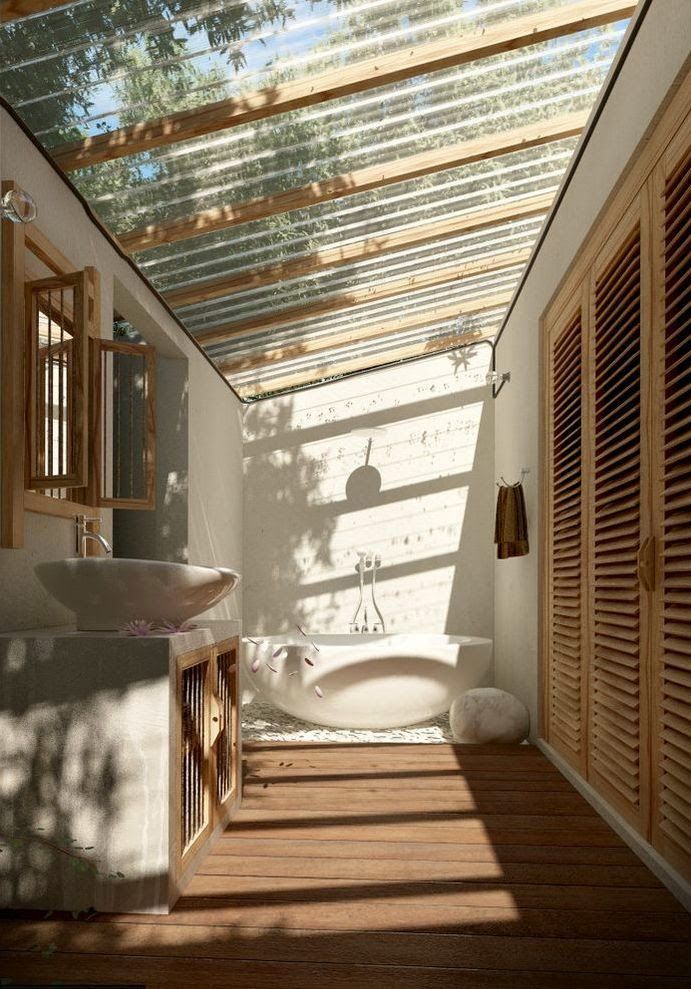 Boiserie c doccia o vasca in giardino outdoor bath nel 2019 indoor outdoor bathroom for Vasche da bagno esterne