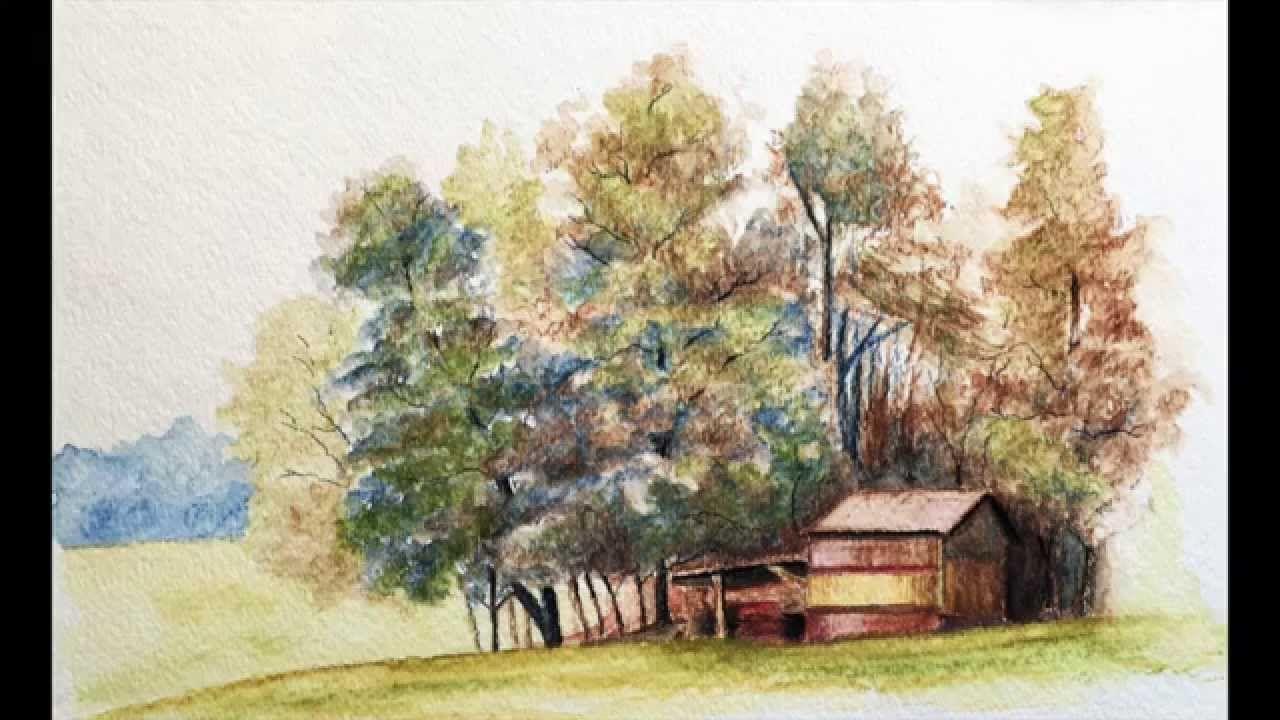 Landscape With Watercolor Pencils Paysage Realise Avec Des