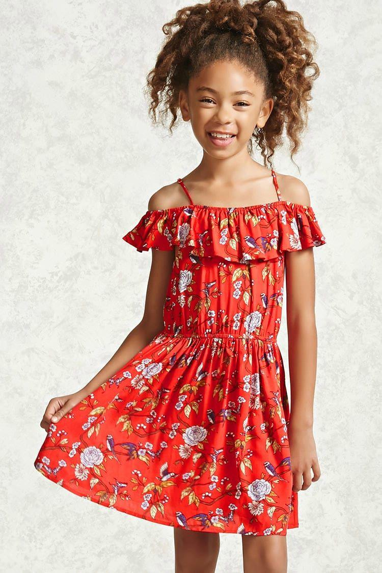 7c8a4725ab22 Vestido Flores Hombros Descubiertos. Vestido Flores Hombros Descubiertos Vestidos  Para Niñas ...
