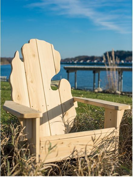 Michigan Adirondack Chair   Natural | Outdoor Furniture | Patio Furniture |  Adirondack Chairs | Outdoor Chair | Michigan Shape Chair