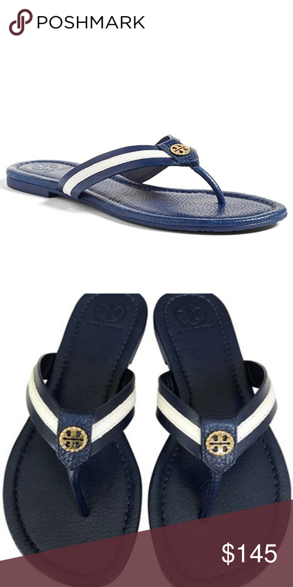 3020fe4c3c0 Tory Burch Navy Sea White Maritime Leather Sandals This is a pair of Tory  Burch Maritime Leather Thong Flip Flop Sandals. - nautical stripes - gold  tone ...