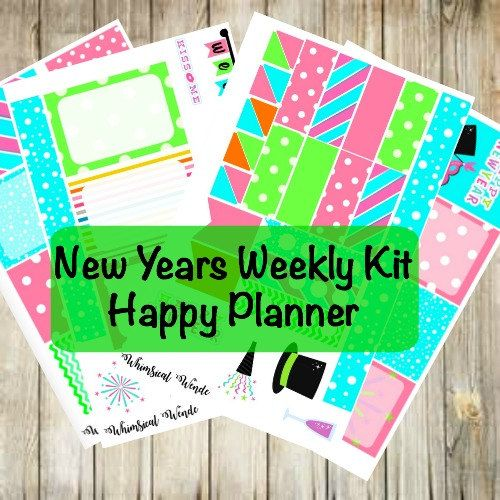 HAPPY Planner New Year Weekly Kit- Happy New Years 2017 by WhimsicalWende on Etsy