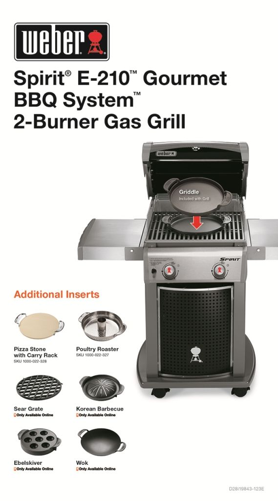 Weber Spirit E 210 2 Burner Propane Gas Grill Featuring The Gourmet Bbq System 46113101 The Home Depot Natural Gas Grill Gas Grill Gourmet Bbq