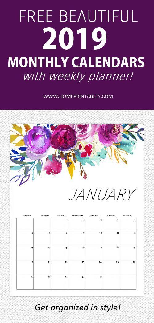 FREE Printable Calendar 2019 in Beautiful Florals! Organizati