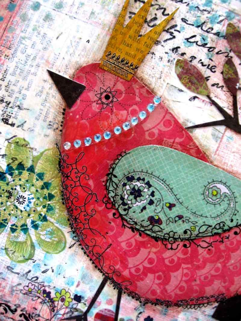 Scrapbook Paper bird --love this one. could change color to fit theme