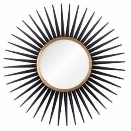 Our mirrors allow you to confidently display your home décor in a sophisticated, timeless manner. We've selected designs that include every interest, from transitional to traditional, and I'm confident you'll find something for every occasion.      Dimensions: 34-Dia. Round  Material / Finish: Beveled Mirror  Finish: Gold Leaf  Color: Ebony / Gold  Price: $594.00