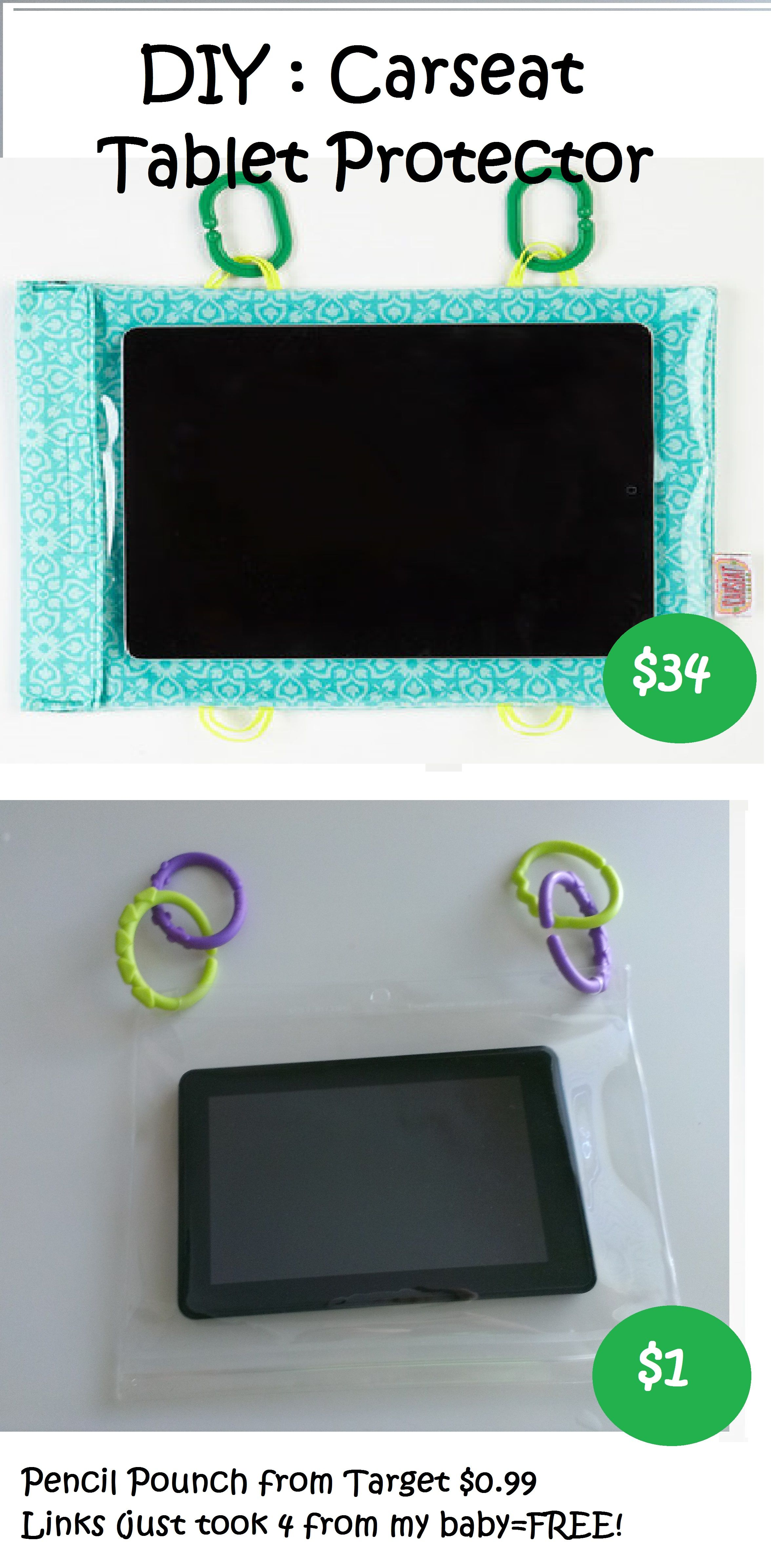 DIY Carseat Tablet Protector - Car seat - Links - Hooks ...