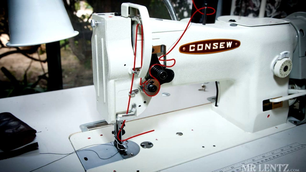 Threading a Leather Sewing Machine. How to properly thread a Consew Leather sewing  machine, specifically the model 206 rb-5