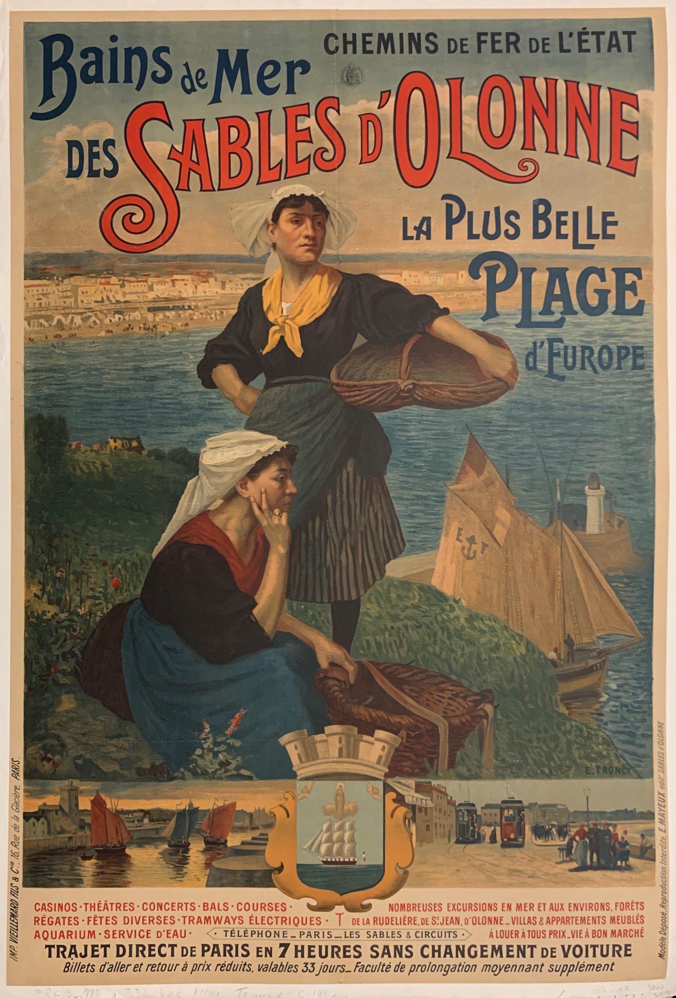 Title Bains De Mer Des Sables D Olonne Artist E Troncy Origin France C 1895 3 Vintage Beach Posters Vintage French Posters Vintage Poster Design