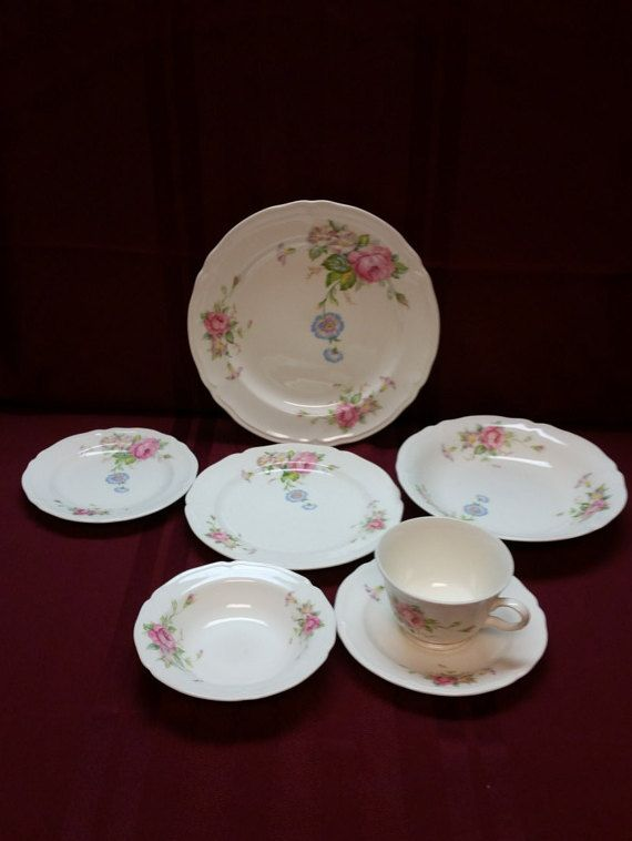Edwin M. Knowles China Co. 43-12 - 7 Piece Place Serving - ANTIQUE ...
