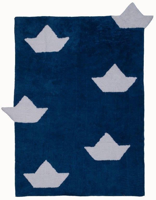 Kinderteppich dunkelblau  Kinderteppich, verspielt im Schiff Design, 100% Baumwolle ...