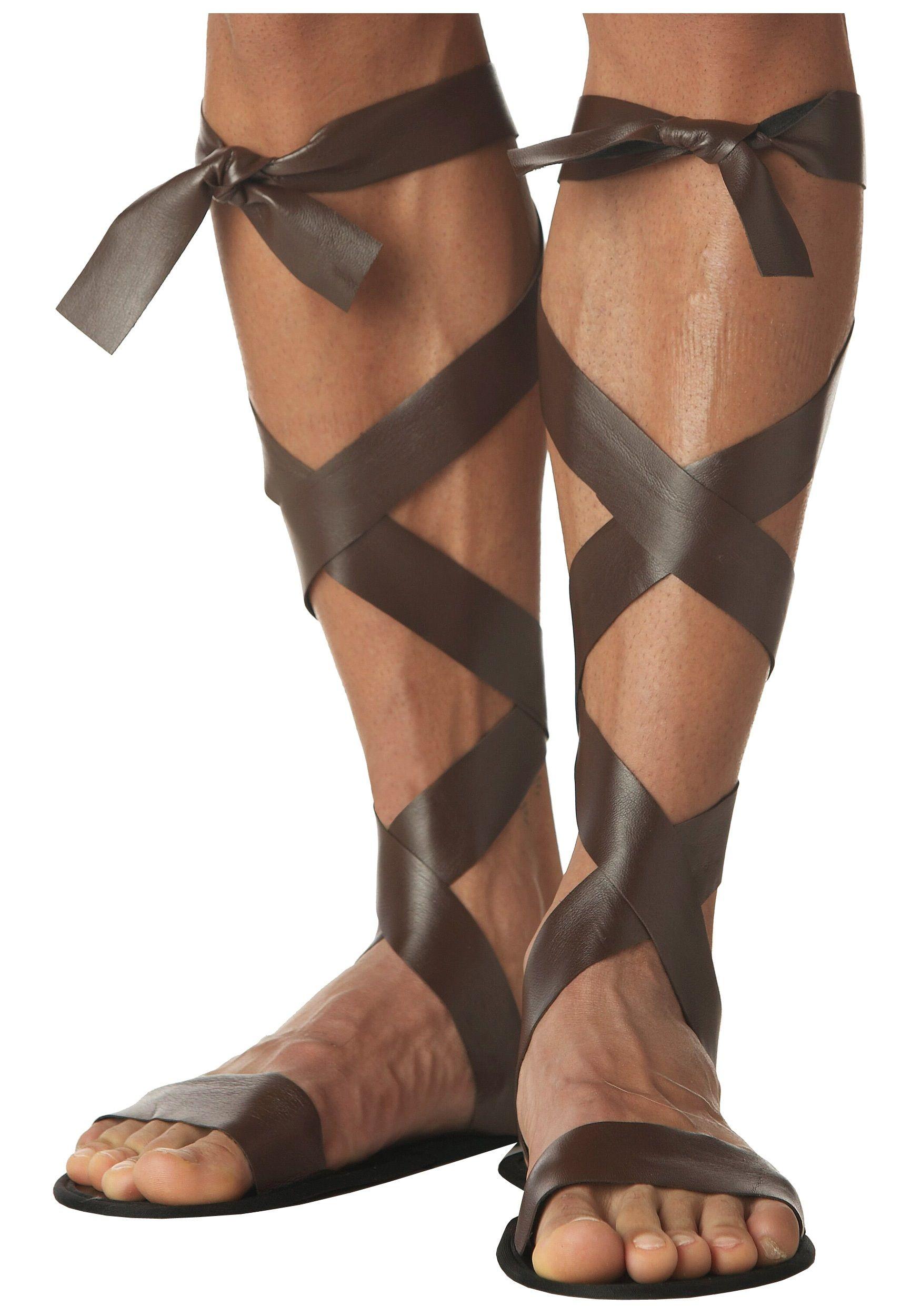 Roman Sandals Roman Dress Roman Ancient Shoes Fancy Dress Gladiator Brown New