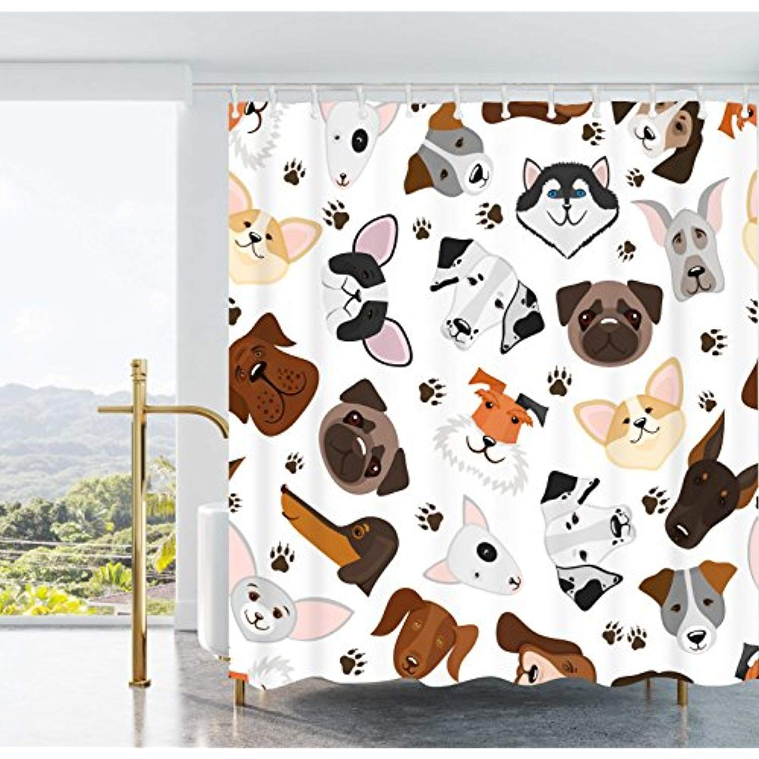 Ao Blare Dog Shower Curtain Cute Puppy And Dog Mixed Breed With