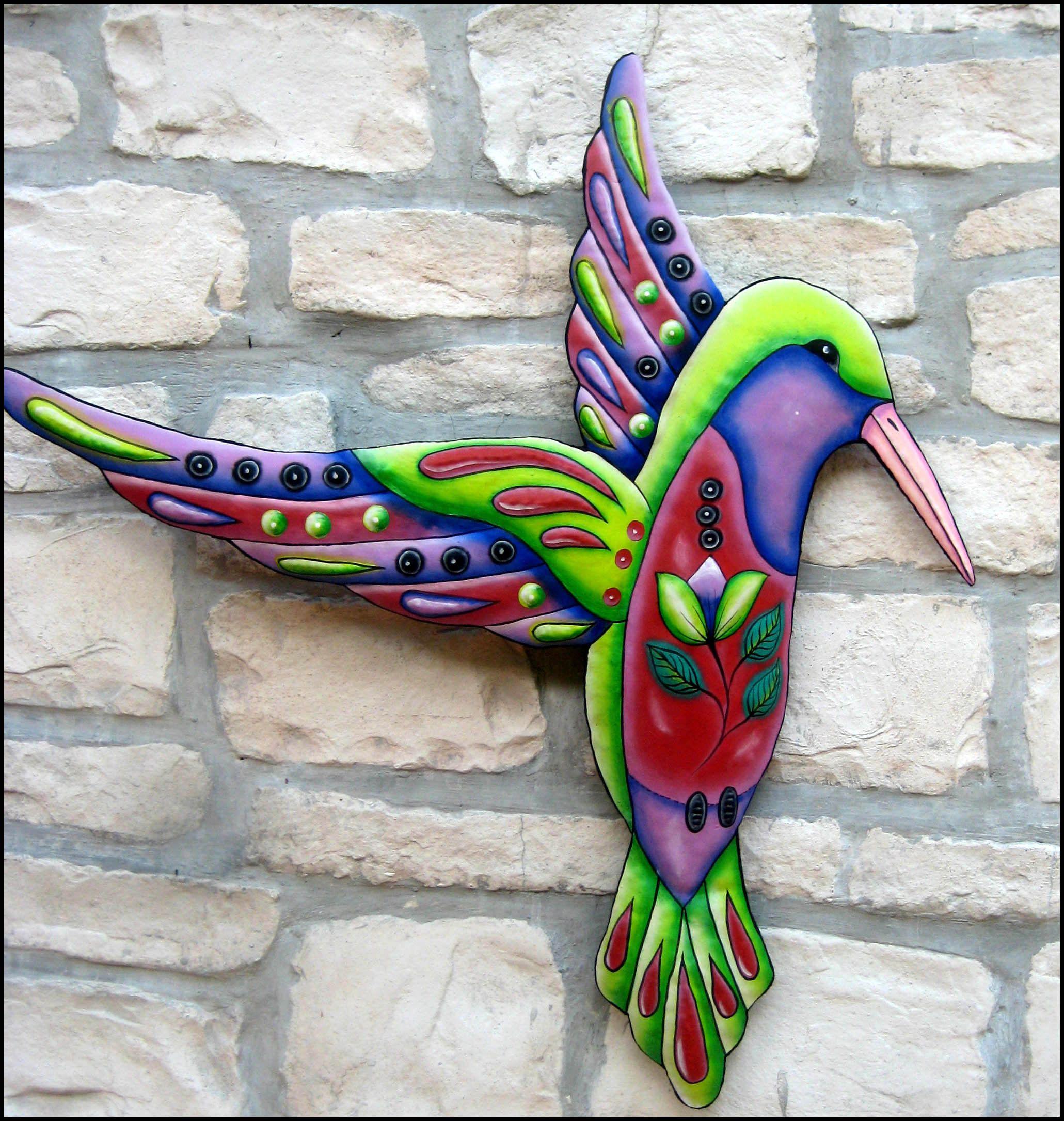 Set of 2 Haitian Metal Hand Craft Art Sculpture Wall Home Decor Hummingbirds