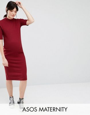 aed865e73d96 $15 Maternity Bodycon Midi Dress in Rib | Maternity Wear - aka ...