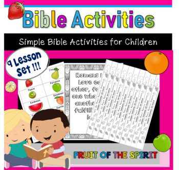 A great way to help keep students engaged in your lesson. You can use these to supplement either your Bible reading (this is what I do) or to supplement a lesson that you have.What you getThis is a 9 week set. The goal is to work on one fruit of the spirit each week. Different weeks include differen...
