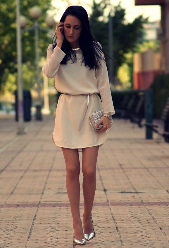 Simple Beige Dress Silver Shoes 3 Fashion Outfits Style