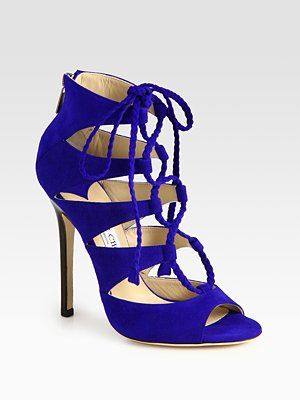 cc36f61d470 Love the deep blue color. Jimmy Choo Gail Lace-Up Suede Sandals Sultry  suede cut-out ...