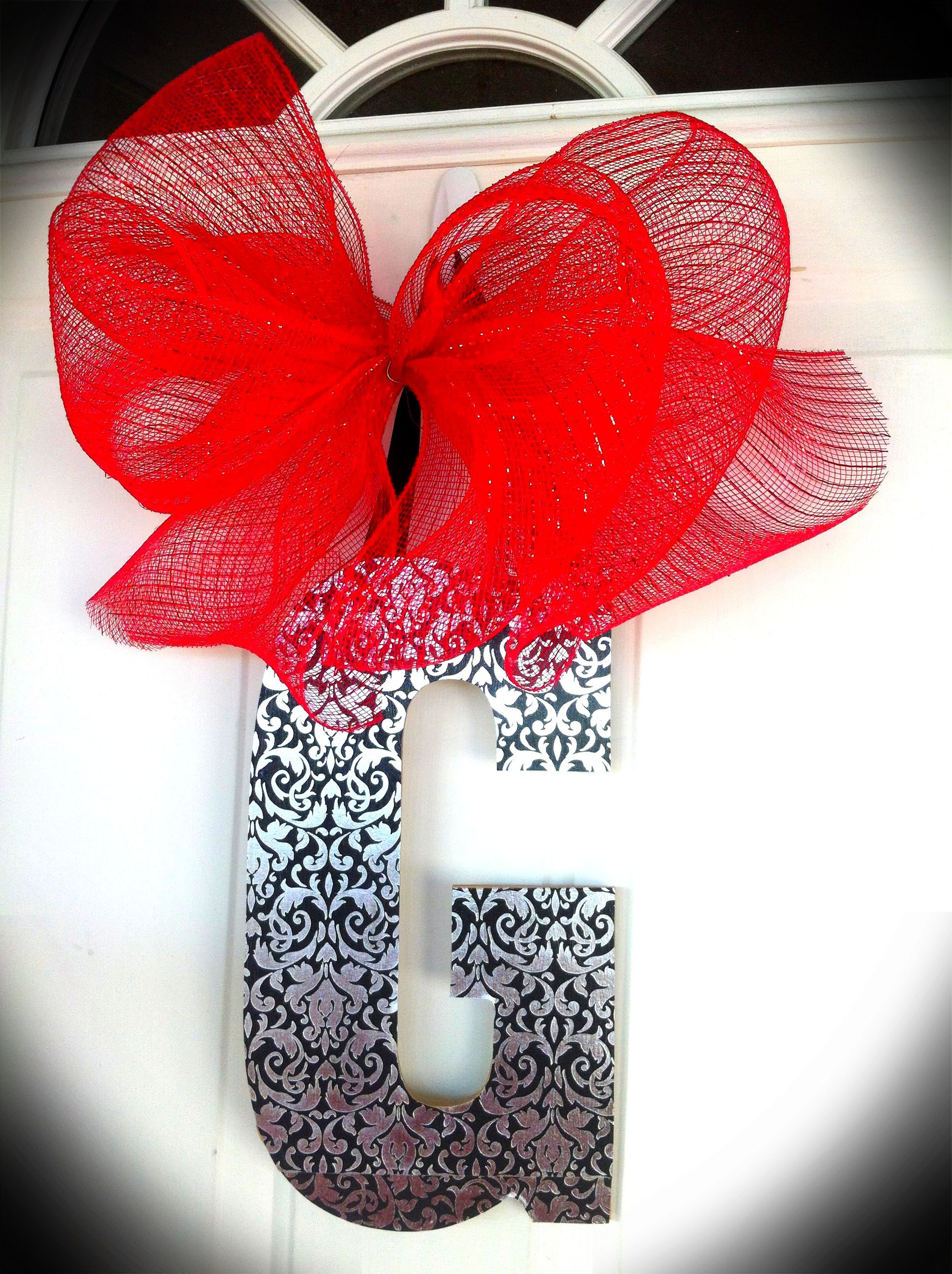 Mod Podge Letter with Deco Mesh Bow!